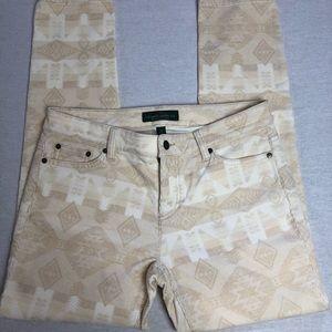 LRL beige Aztec/tribal corduroy pants, size 10